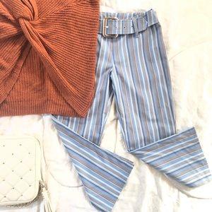 Pants - Capri Belted Striped Pants
